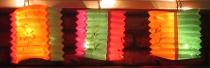 Chinese lanterns luminated by Christmas lights